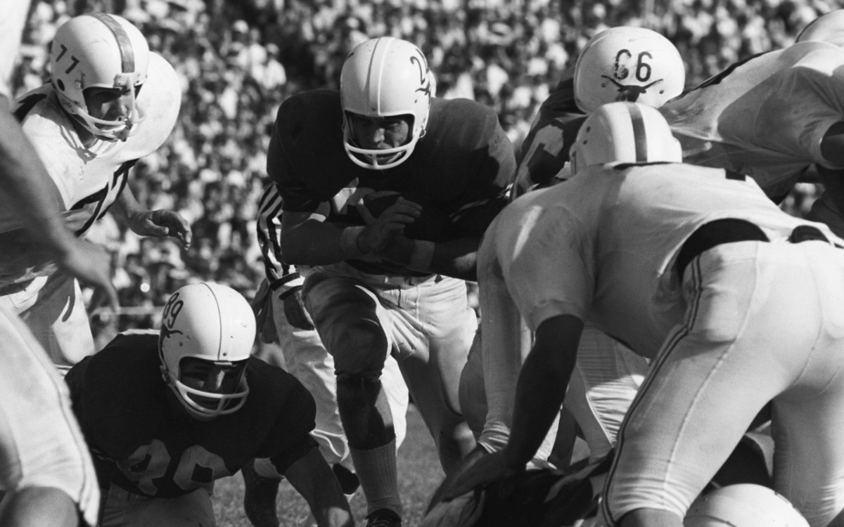 Texas Tommy Ford (24) in action, rushing vs Oklahoma at Cotton Bowl Stadium.