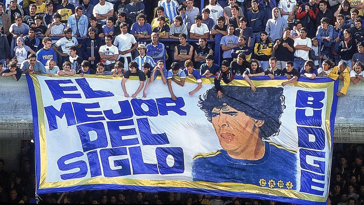 Argentina fans hang a Maradona banner