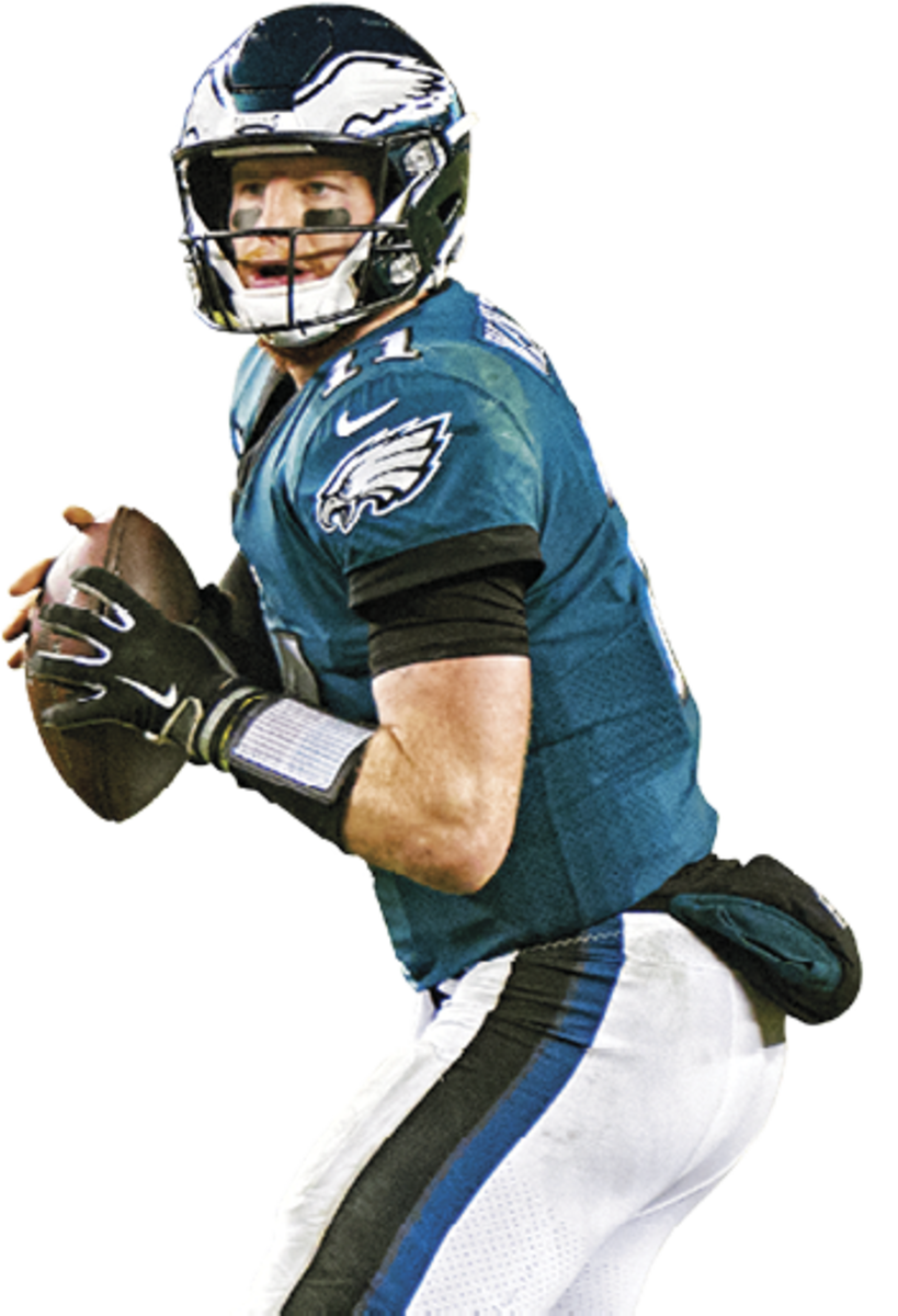 CARSON WENTZ Age: 28 In 2017 a torn ACL ended an MVP campaign. (Nick Foles led Philly to a title.) The Eagles gave him a big contract in 2019 but ended up benching him last December.