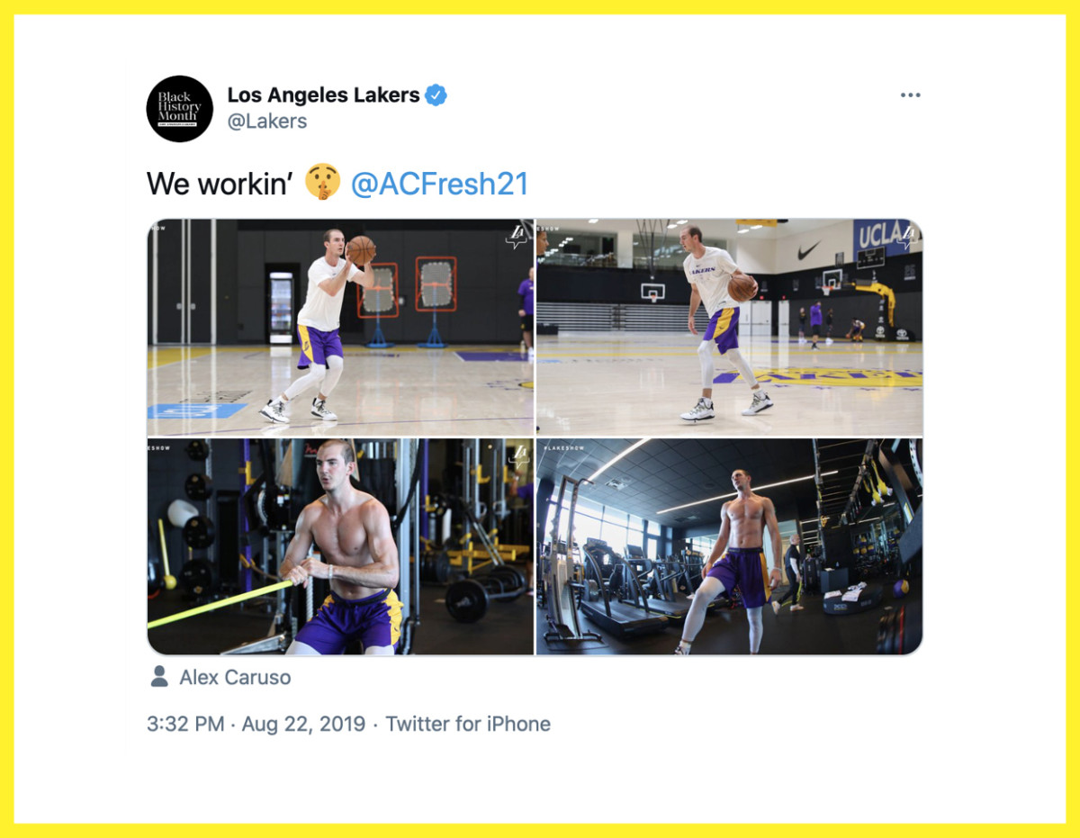 Meme me: The Lakers sent out photos of Caruso working out shirtless, which naturally led to a deluge of Hulk- and Popeye-themed Photoshopped pictures online.