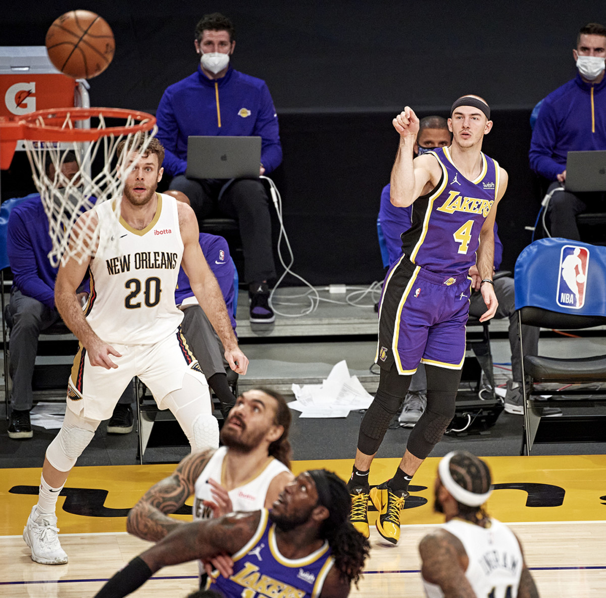 pace setter With surprising frequency, as Caruso goes, so go the Lakers: In January he was +28 in 18 minutes against the Pelicans in a 112–95 win.
