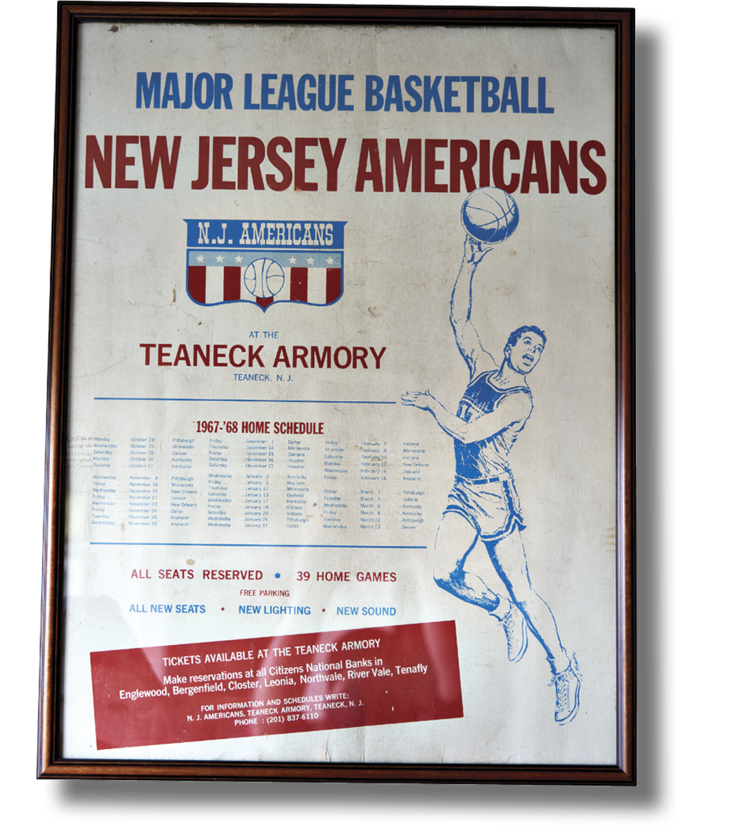 1967–68 POSTER The Americans' inaugural season ended with a forfeit in a one-game playoff because the Armory was hosting the circus and an alternative arena couldn't be found.