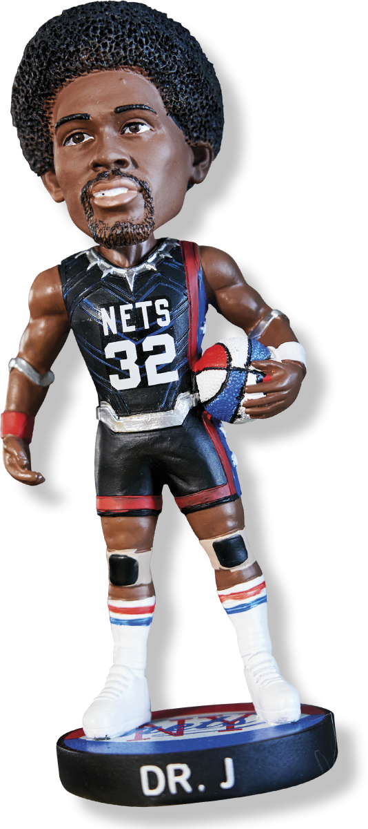 """DR. J BOBBLEHEAD Turetzky picked this up at a Spurs-Nets game last season and got a hug from longtime friend Erving, who calls him """"the official scorekeeper extraordinaire."""""""