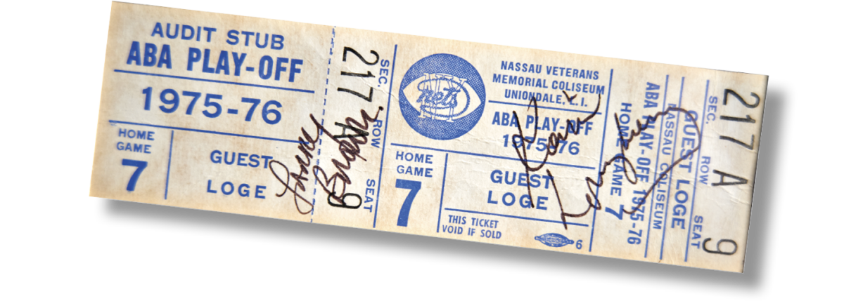 GAME 7 TICKET The Nets won the 1976 ABA title in six games, rendering this ticket, signed by New York coach Kevin Loughery (642 career Ws) and Denver's Larry Brown (1,327), moot.