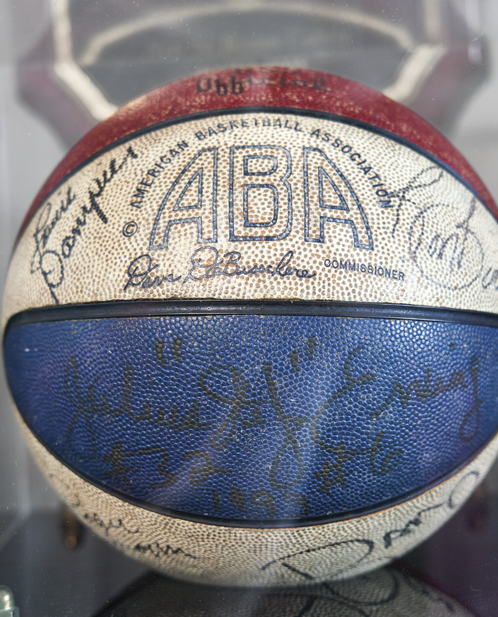 AUTOGRAPHED BALL An eyewitness to so much great hoops, Turetzky had top ABA talent (including Erving, Louie Dampier and Dan Issel) sign a red-white-and-blue ball.