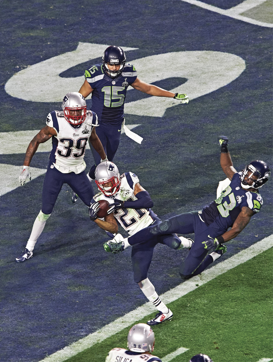 SEATTLE SETTLED The Malcolm Butler pick (top) in XLIX was the last pass the Seahawks threw in a Super Bowl, but Wilson and Carroll (below) have returned to the playoffsfive times since.